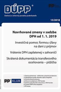 DUPP 13/2018 Navrhované zmeny v sadzbe DPH od 1. 1. 2019