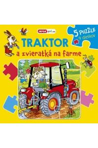Traktor a zvieratka na farme - puzzle