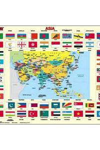 Ázia (politická + vlajky)